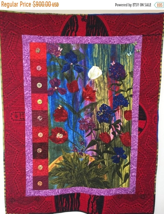 ON SALE Give Yourself a Thoughtful Flower 39x47 inch art quilt