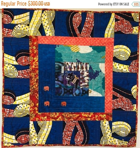Hot Summer Sale Kissed By an Elephant #2 31x31 inch art quilt