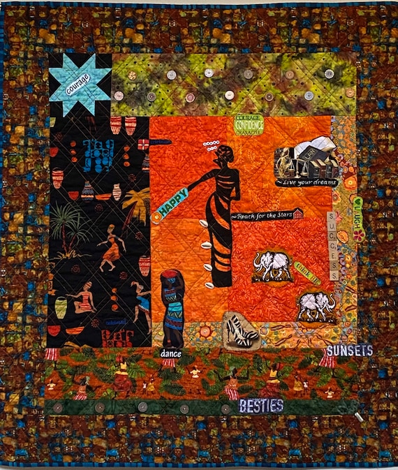 I Can See My Bright Future, 34x38 inch quilted wallhanging