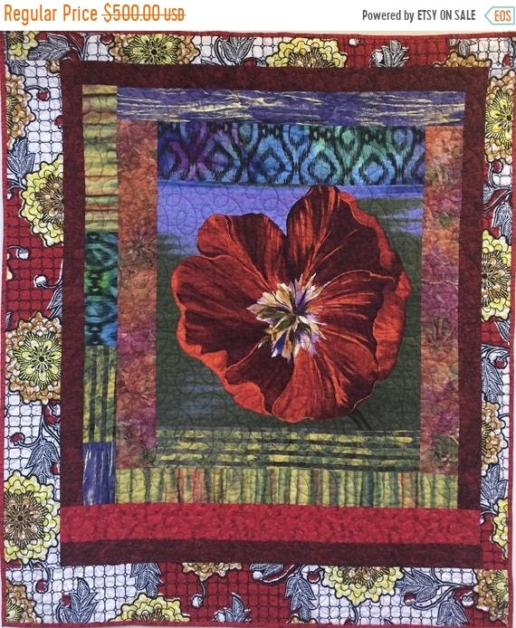 FALL SALE Give Yourself a Bold Red Flower 40x48 inch art quilt