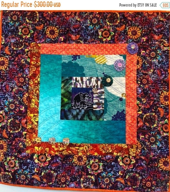 FALL SALE Kissed By an Elephant #9, 31x31 inch art quilt