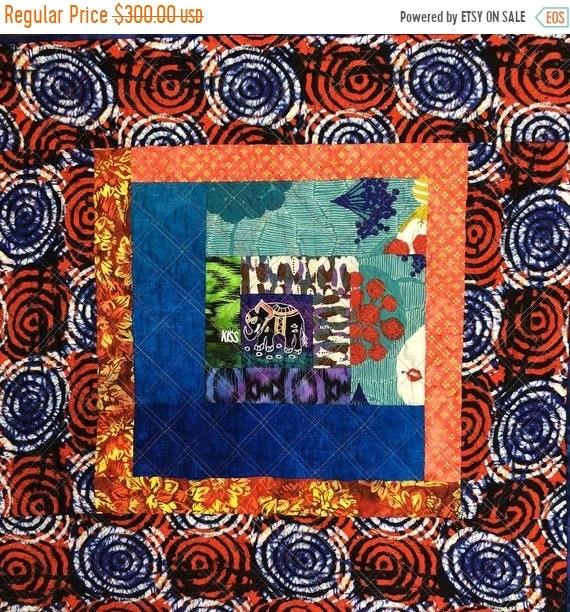 FALL SALE Kissed By An Elephant #4 31x31 inch art quilt