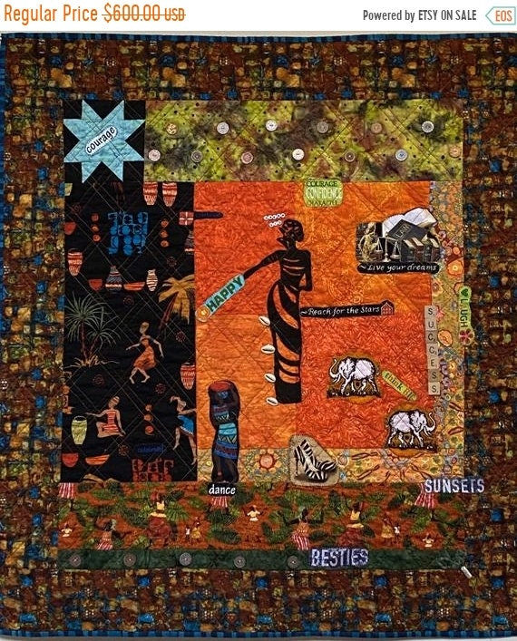 HOLIDAY SALE I Can See My Bright Future, 34x38 inch quilted wallhanging