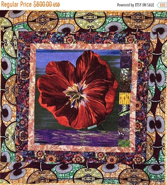 FALL SALE Give Yourself A Victory Flower, 39x41 inch art quilt