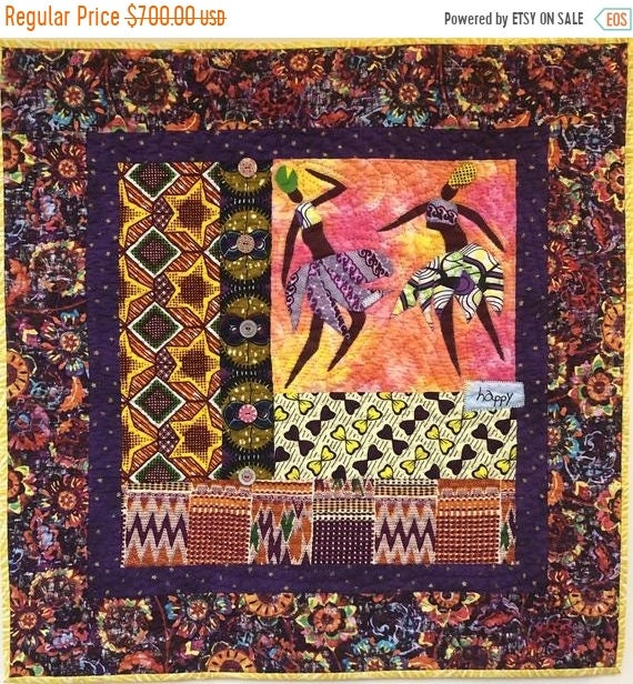 Holiday Sale Be Happy! 28x28 inch hand quilted art quilt