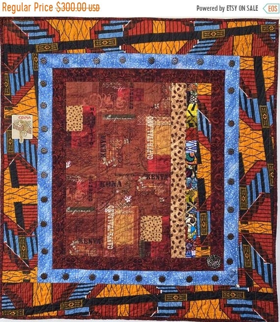 Black History Sale Coffee Under a Blue Kenyan Sky, 32x35 inch art quilt