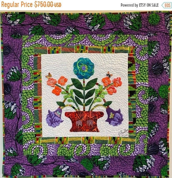 ON SALE Begin Again, 30x30 inch hand quilted art quilt