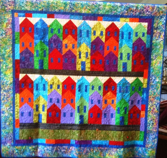 Island City 70 x 67 inch colorful art quilt