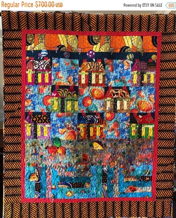 FALL SALE Beach Houses at Sunset 46x55 inch art quilt
