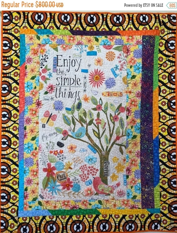 AQF sale Live Loving the Simple Things, a 45x55 inch quilted embellished wallhanging