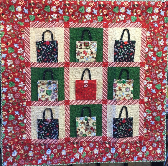 Christmas Shopping 48x48 inch art quilt