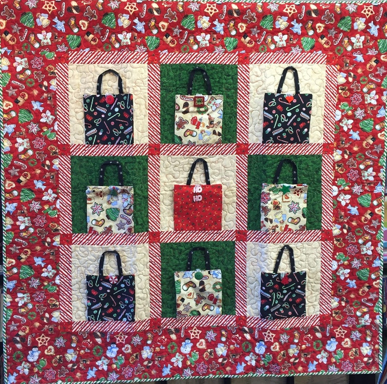 Christmas Shopping 48x48 inch art quilt image 0