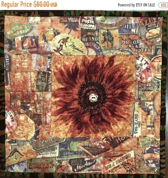 DISCOUNT Sassy Sunflowers in My Library #2 10x10 inch mini art quilt