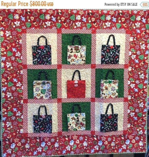 Holiday Sale Christmas Shopping 48x48 inch art quilt