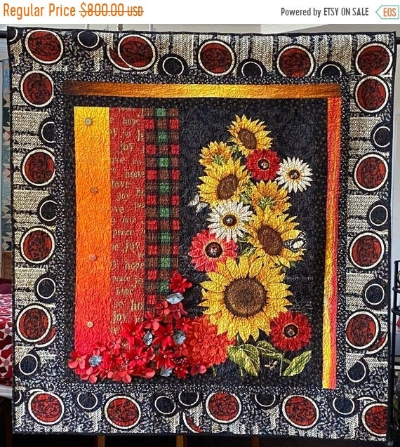 AQF sale Give Yourself Southern Christmas Flowers, 49x52 inch art quilt