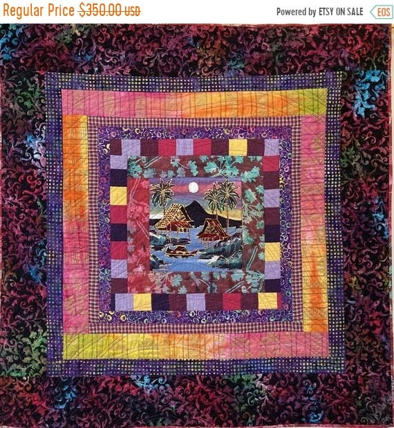 On Sale Reflection at Day's End, a 42x42 inch quilted wallhanging
