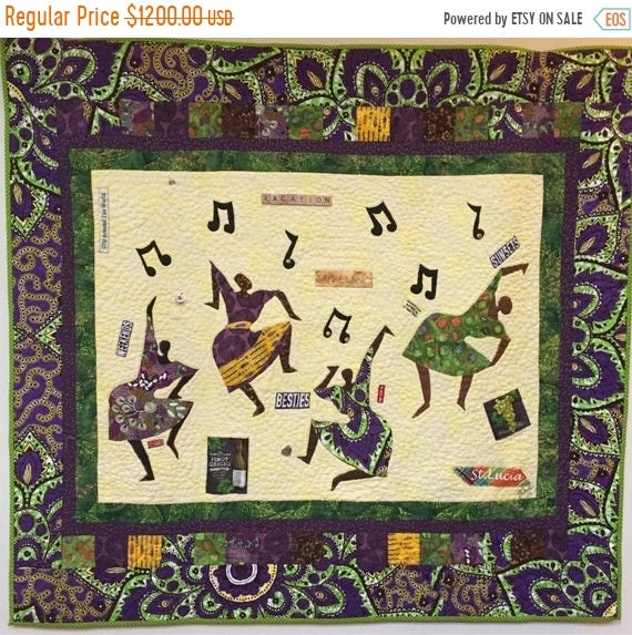 On Sale 5 p.m. the day Before Vacation hand quilted art quilt