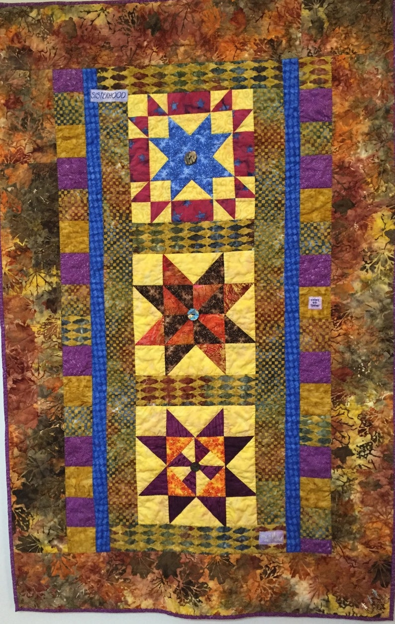 Three Sisters hand quilted art quilt image 0