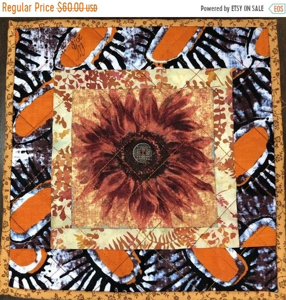 Holiday Sale Sassy Sunflowers in My Library #3 10x10 inch mini art quilt