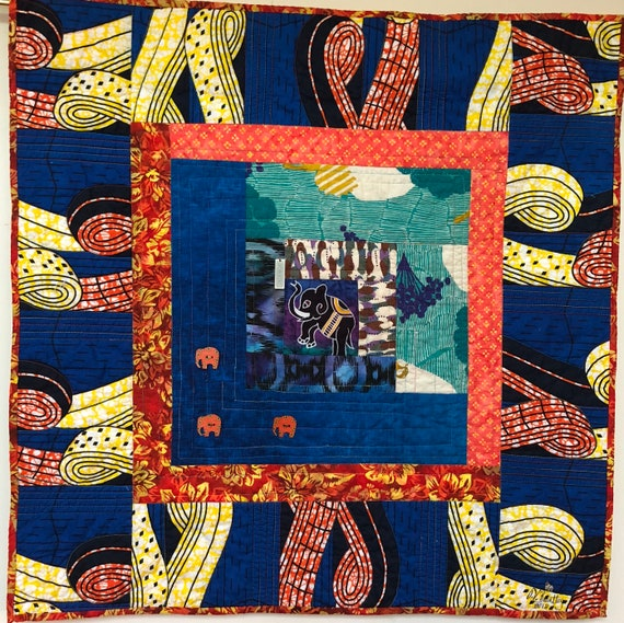 Kissed By an Elephant #2 32x32 inch art quilt