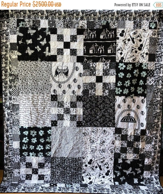 Summer Sale Friendship in Black and White, 70x88 inch heirloom black and white quilt