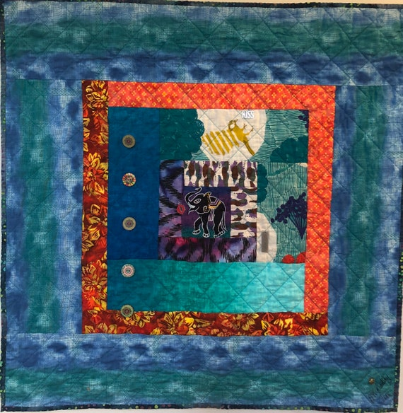 Kissed By An Elephant #5 31x31 inch art quilt