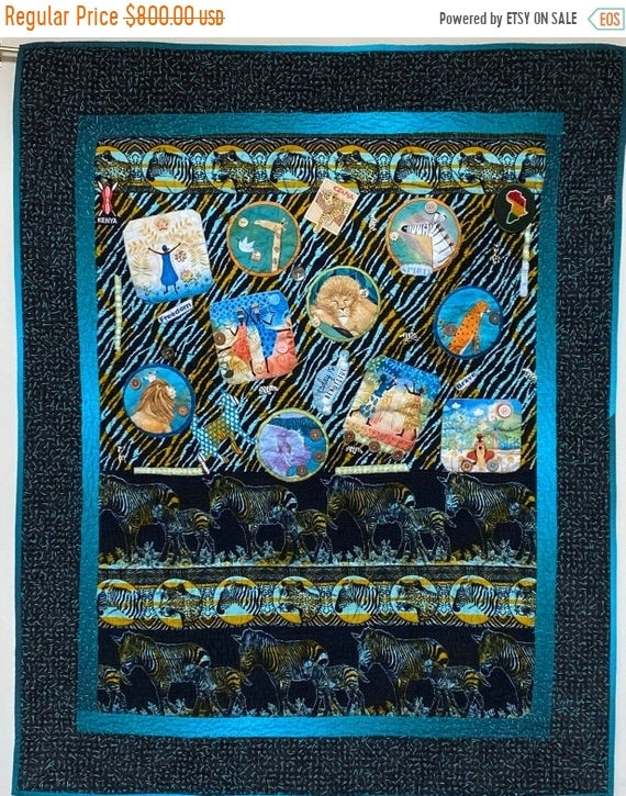 AQF sale Living My Best Life on the Wild Side. 37x47 inch hand quilted art quilt