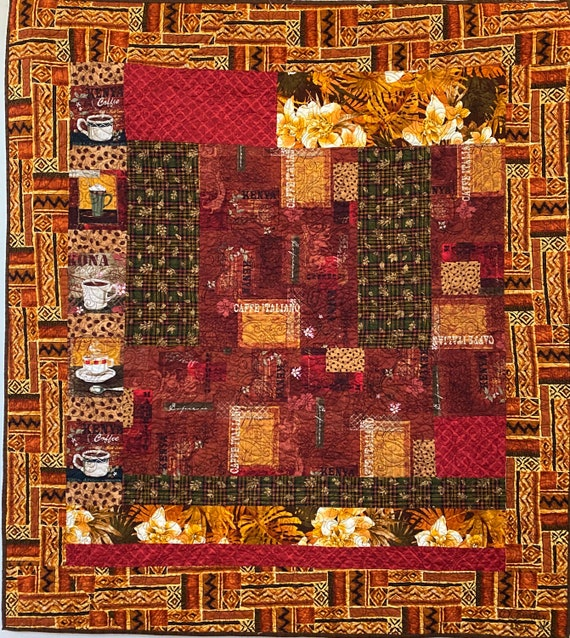 Strong Safari Coffee, 43x48 inch quilted wallhanging