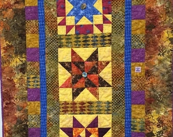 Hello Summer Sale Three Sisters hand quilted art quilt