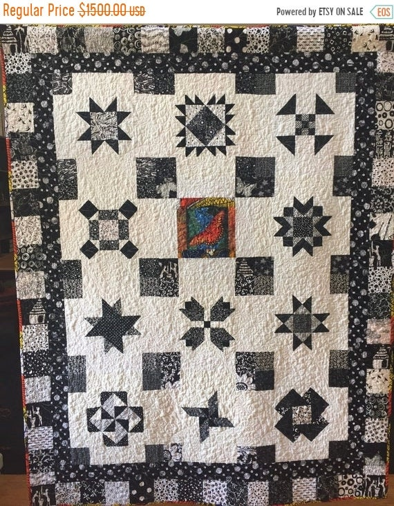 FALL SALE Stand Out in the Crowd, 53x69 inch black and white traditional sampler quilt