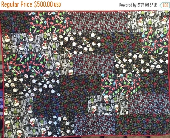 AQF sale Atlanta Snow Day 54x72 inch holiday lap quilt