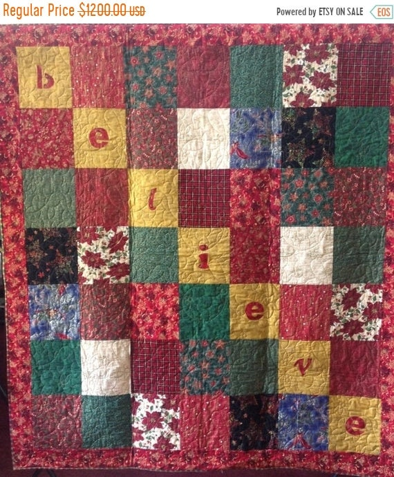 On Sale Believe is a Christmas themed quilted wallhanging