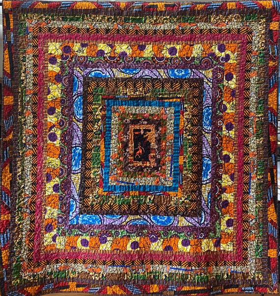 Dance With Me, African log cabin art quilt