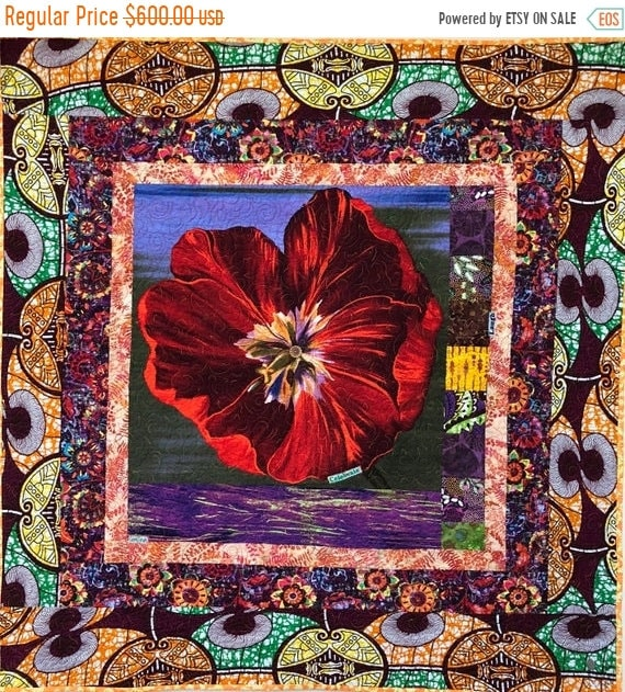 MLK Day Sale Give Yourself A Victory Flower, 39x41 inch art quilt