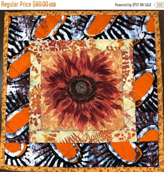 DISCOUNT Sassy Sunflowers in My Library #3 10x10 inch mini art quilt