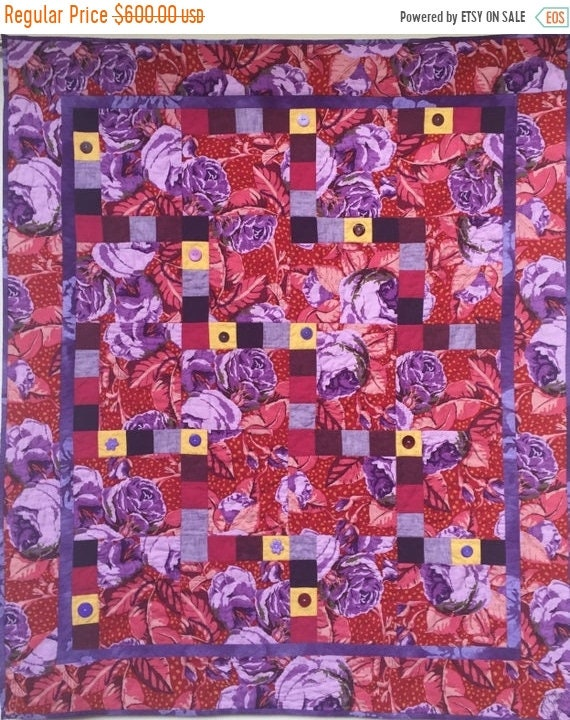 FALL SALE Feeling Fat? Give Yourself Big Purple Flowers art quilt