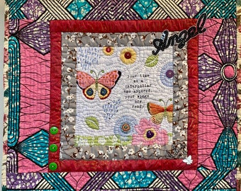 Whispers From My Angels #5 hand quilted 18x18 inch art quilt
