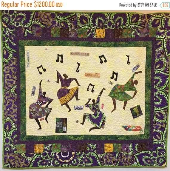Holiday Sale 5 p.m. the day Before Vacation hand quilted art quilt