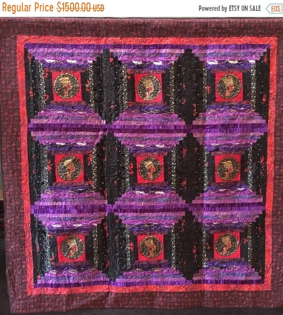 ON SALE Queen of Everything 64x64 inch art quilt