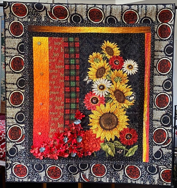 Give Yourself Southern Christmas Flowers, 49x52 inch art quilt