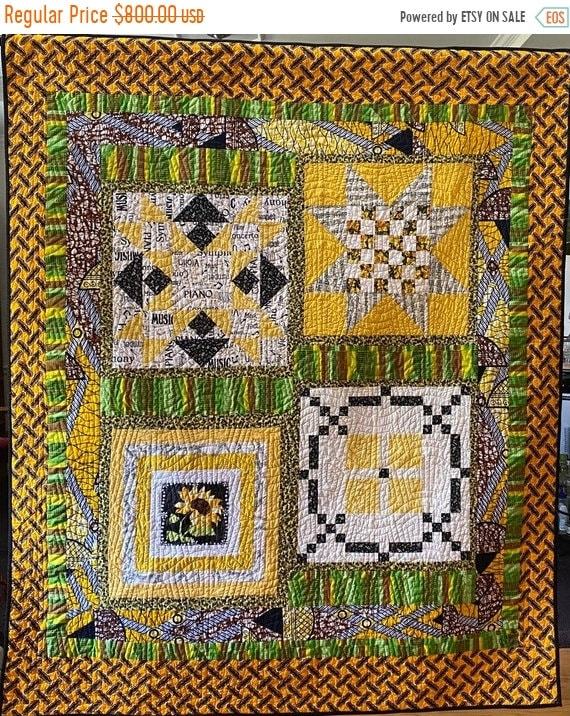 Fall sale Sing a Happy Song 54x65 inch traditional quilted wallhanging