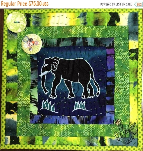 DISCOUNT Strong Elephants in My Library #3 -- a 10 inch art quilt