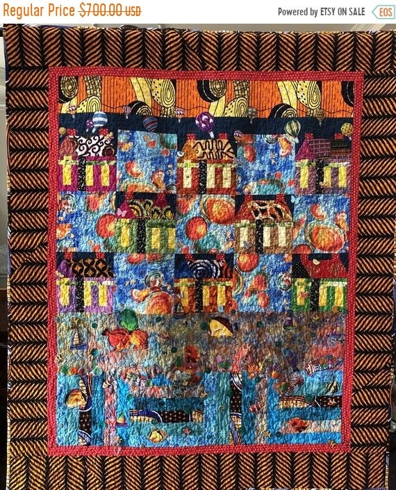 On Sale Beach Houses at Sunset 46x55 inch art quilt