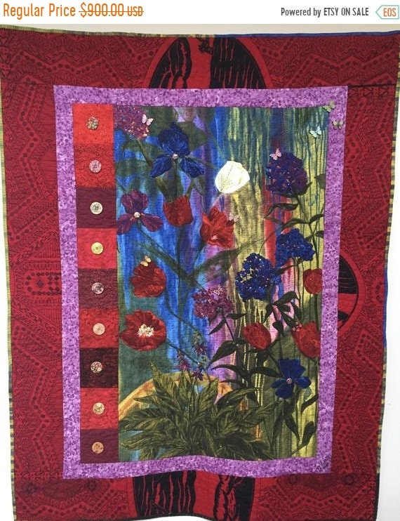 Holiday Sale Give Yourself a Thoughtful Flower 39x47 inch art quilt