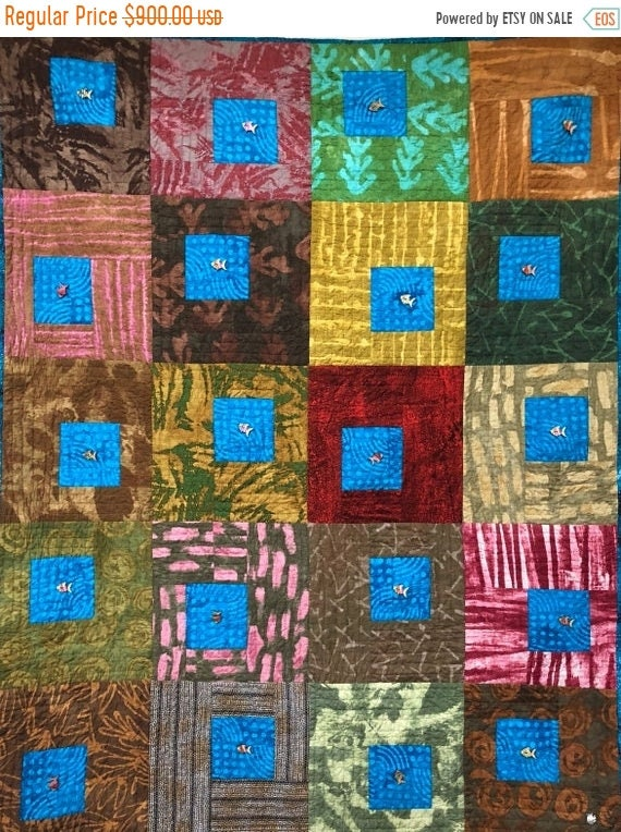FALL SALE Caribbean Reflection 42x54 inch hand quilted art quilt