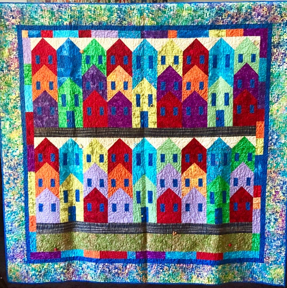 On Sale Island City 70 x 67 inch colorful art quilt