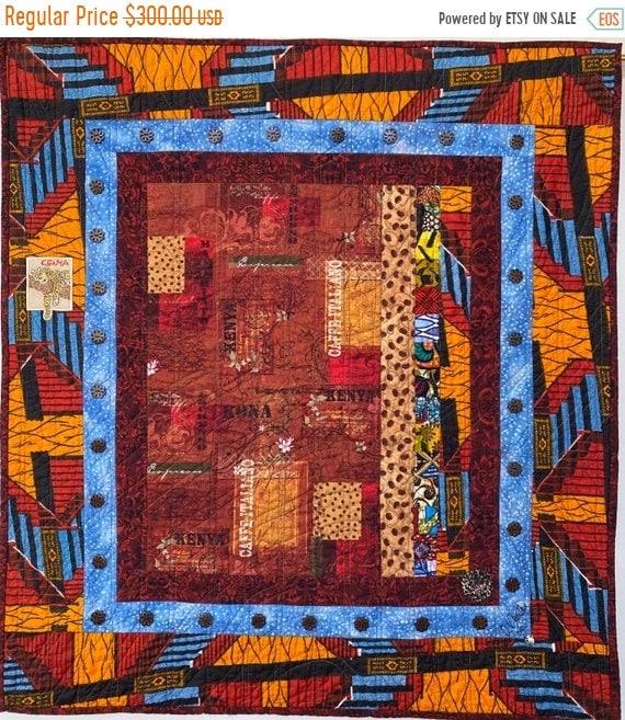 On Sale Coffee Under a Blue Kenyan Sky, 32x35 inch art quilt