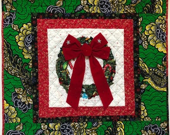 Ancestral Wreath 33x33 inch Quilted Holiday Wreath