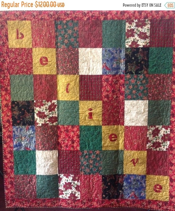 FALL SALE Believe is a Christmas themed quilted wallhanging