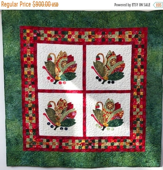 On Sale Holiday Swans 48x48 inch appliqué quilt